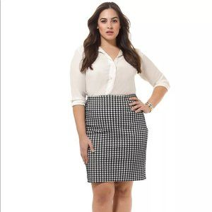 Poppy & Bloom Pencil Skirt Houndstooth Classic